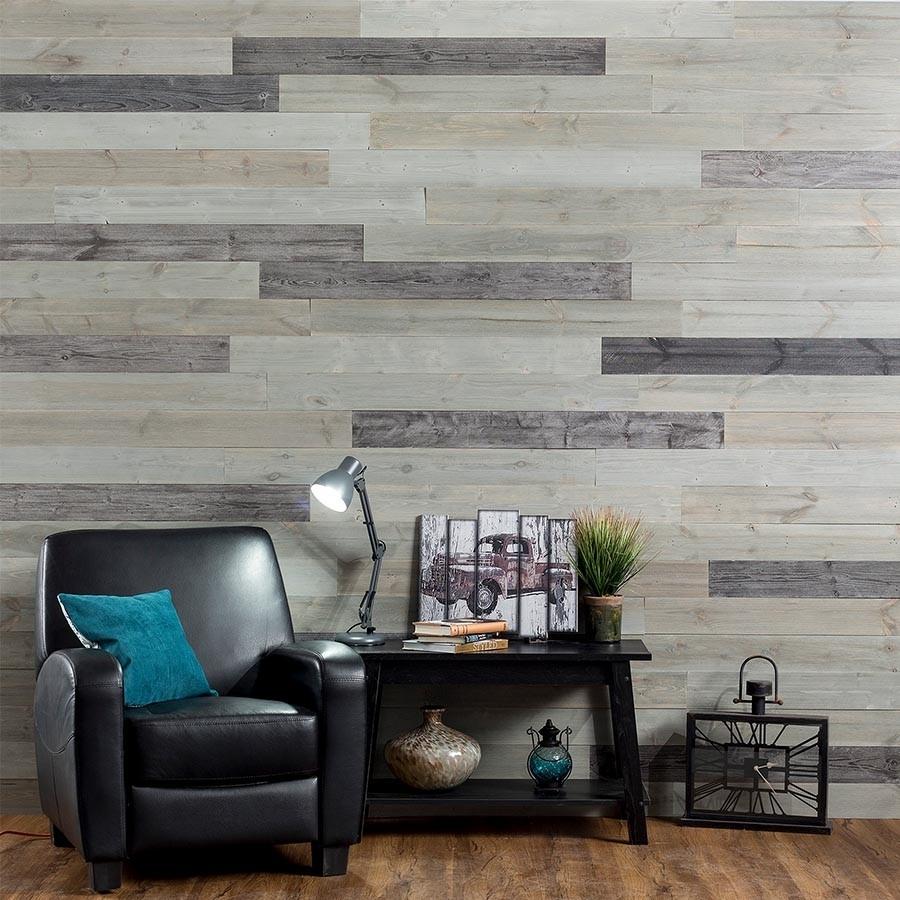 Rustic Grove Wood Planks in Mixed Gray-Dark