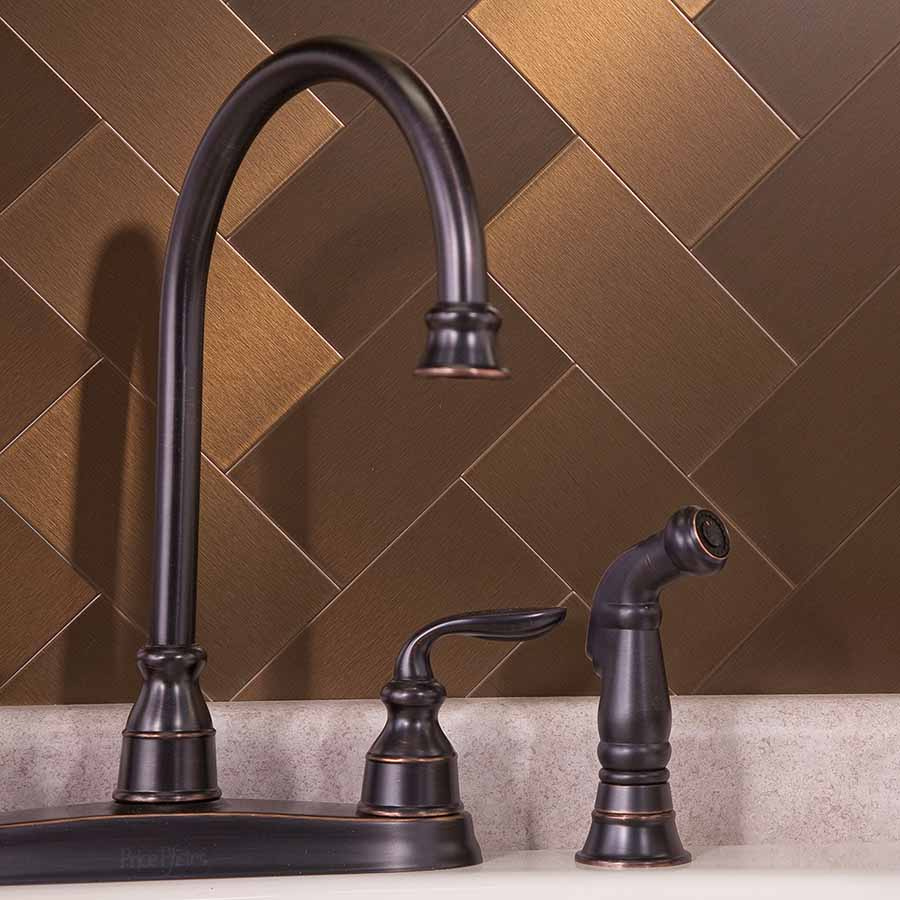 Aspect Peel and Stick 3x6 Metal Tiles in Bronze (Long Grain)