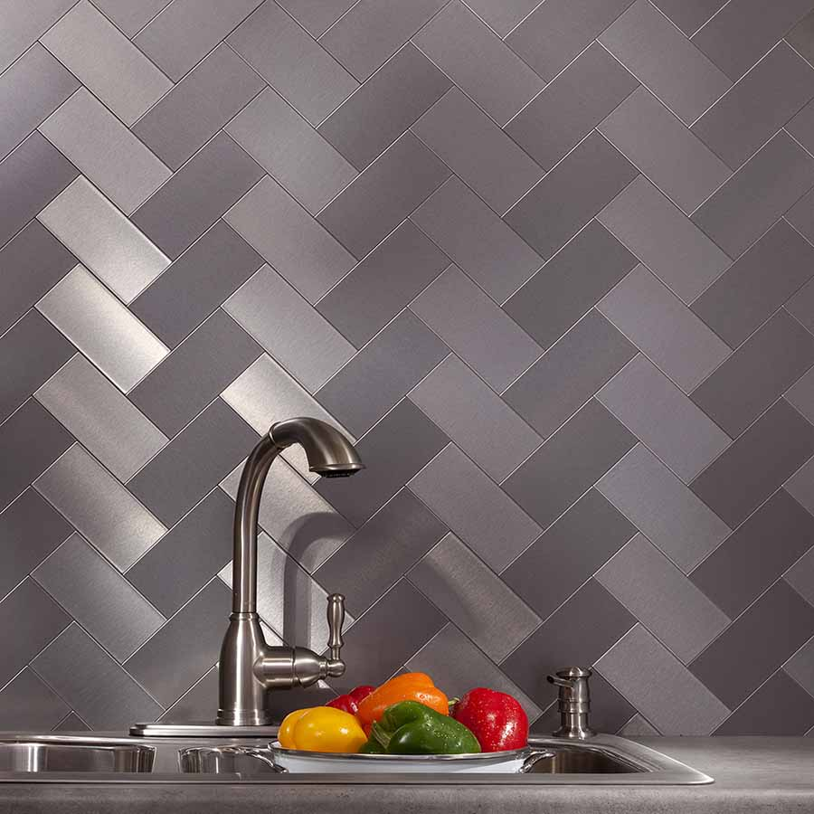 Aspect Peel and Stick 3x6 Metal Tiles in Brushed Stainless (Short Grain)