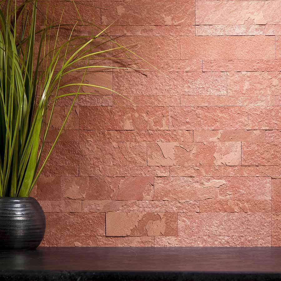 Aspect Peel and Stick Stone Backsplash in Autumn Sandstone