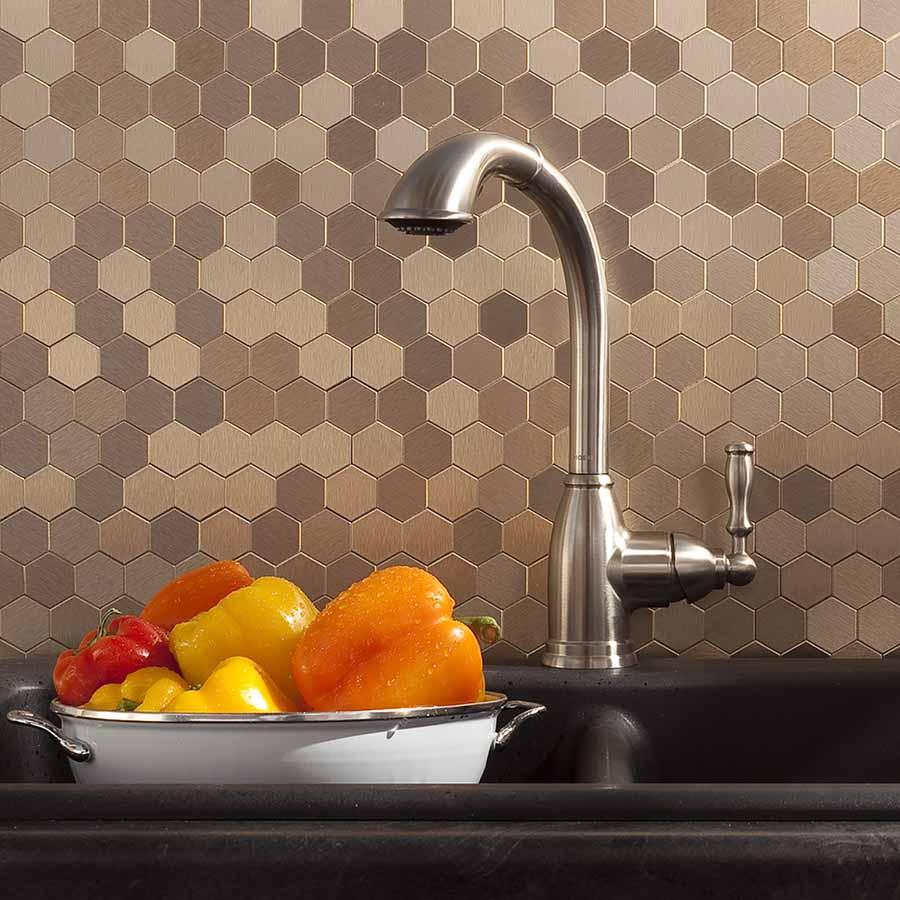 Aspect's Honeycomb Matted Metal Backsplash Tiles in Brushed Champagne