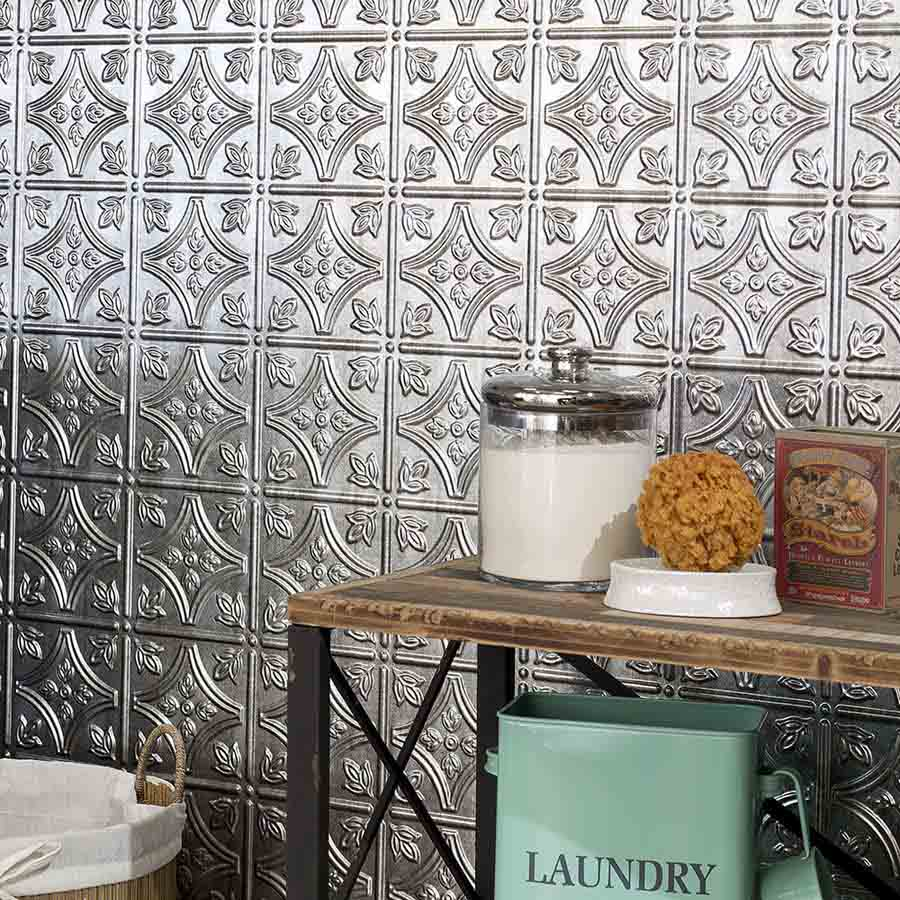 Fasade's Traditional 1 Wall Panel in Crosshatch Silver