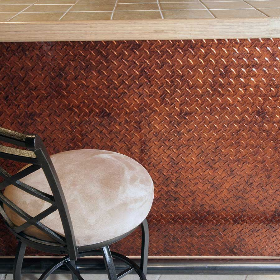 Fasade's Diamond Plate Wall Panel in Moonstone Copper
