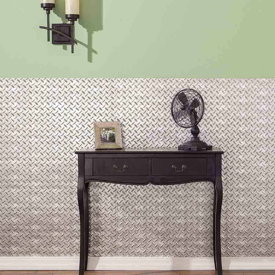 Fasade's Diamond Plate Wall Panel in Crosshatch Silver