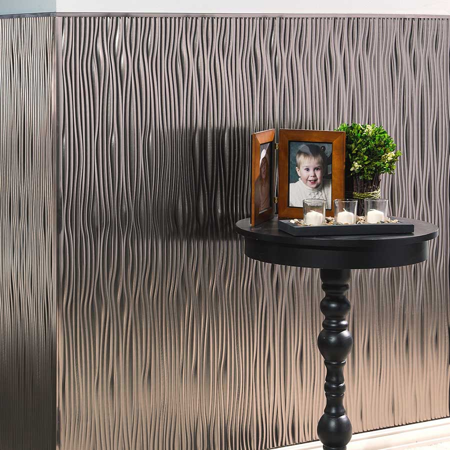 Fasade's Waves Wall Panel in Brushed Nickel