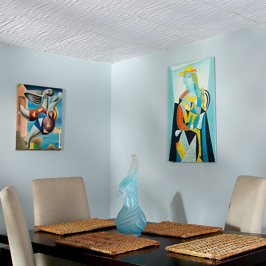 Genesis 2x4 Suspended Ceiling Tile - Drifts in White