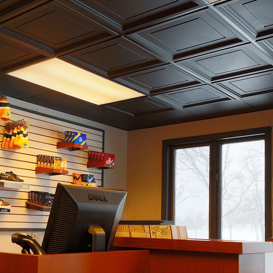 Genesis 2x2 Suspended Ceiling Tile - Icon Coffer in Black