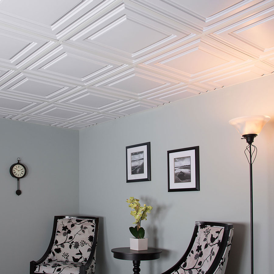 Genesis 2x2 Suspended Ceiling Tile - Icon Relief in White