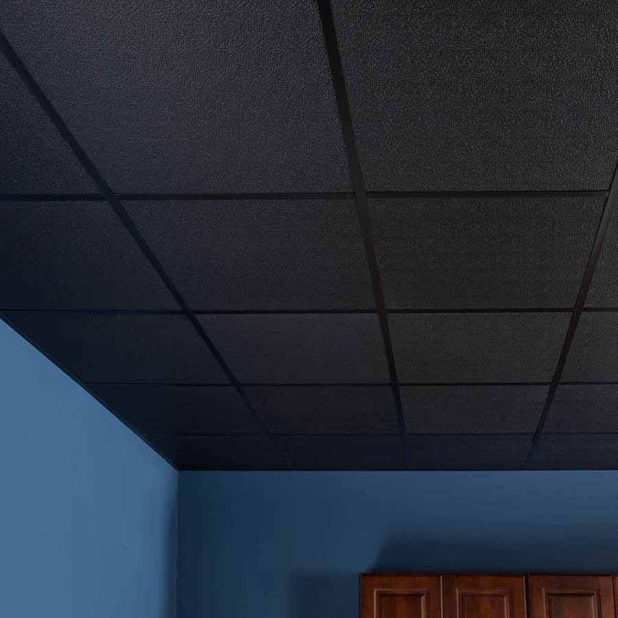 Genesis 2x2 Stucco Pro Ceiling Tile in Black