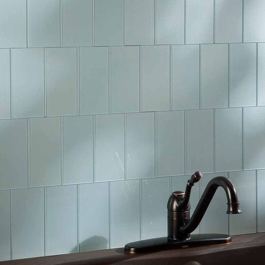 Aspect Peel and Stick 3x6 Glass Tiles in Glacier