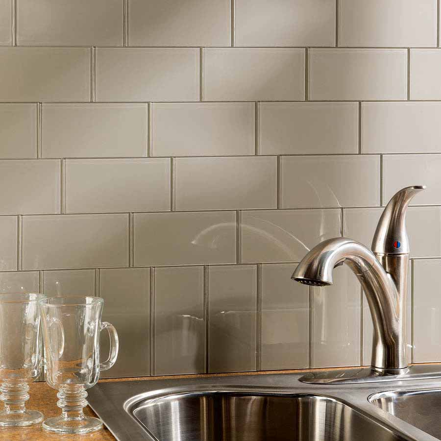 Aspect Peel and Stick 3x6 Glass Tiles in Putty