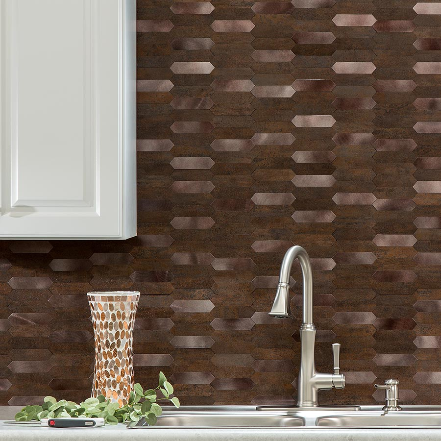 Aspect Peel and Stick Collage Tiles in Burnt Copper