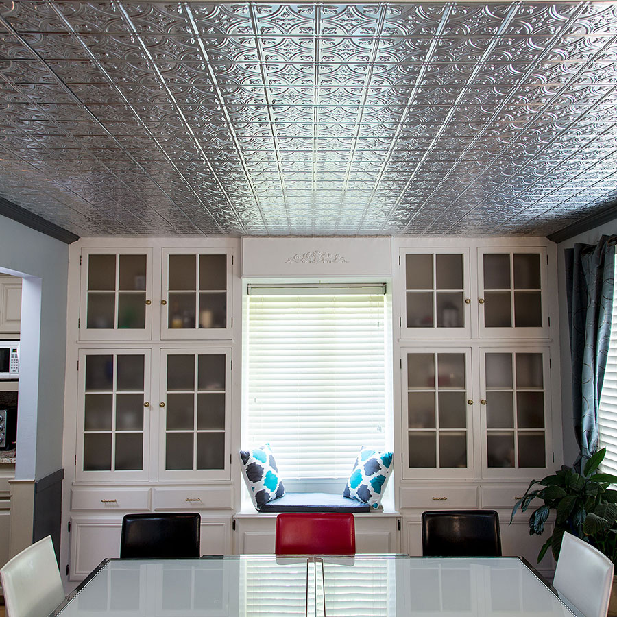Fasade 2x4 Direct Apply Ceilinng Tile - Traditional 1 in Brushed Aluminum