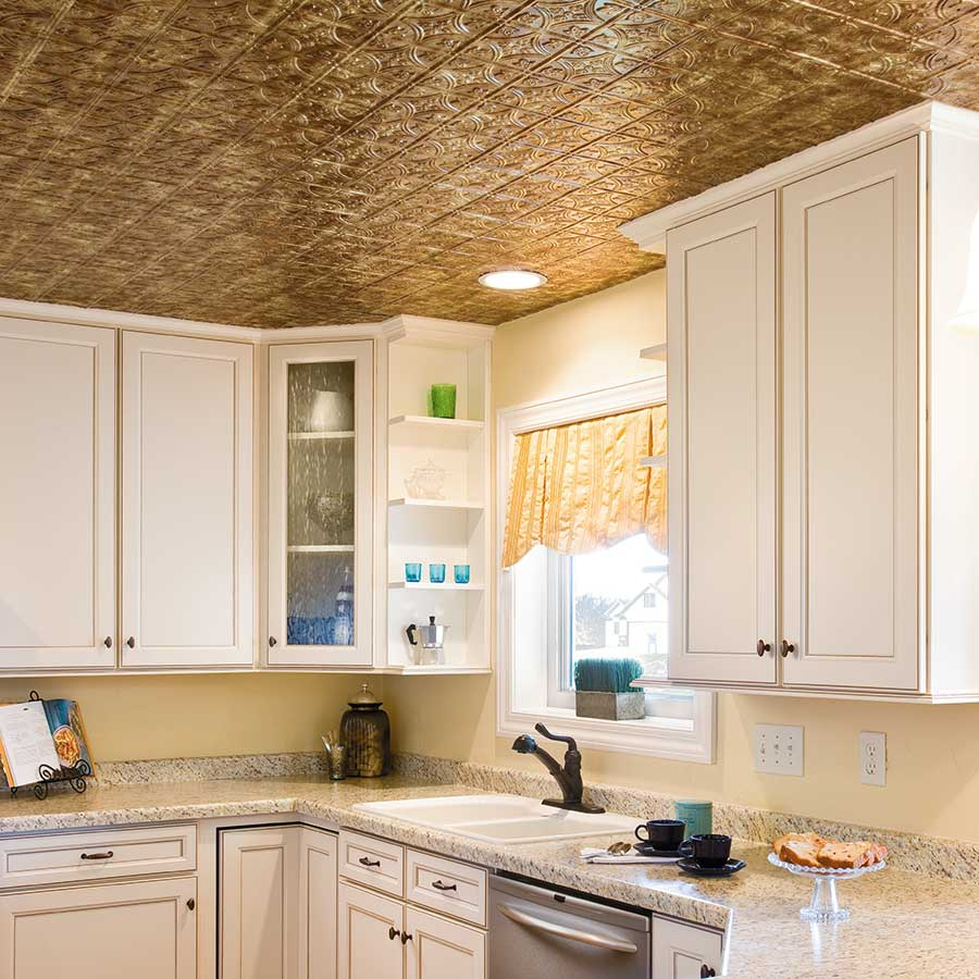 Fasade 2x4 Direct Apply Ceiling Tile - Traditional 1 in Bermuda Bronze
