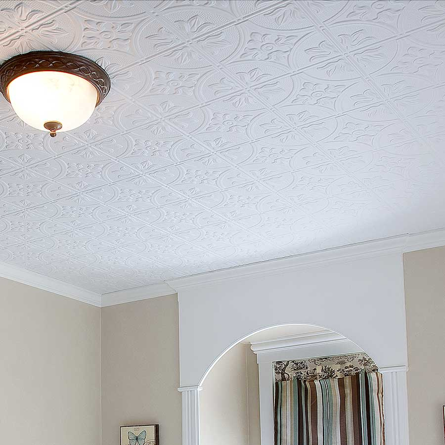 Fasade 2x4 Direct Apply Ceiling Tile - Traditional 2 in Matte White