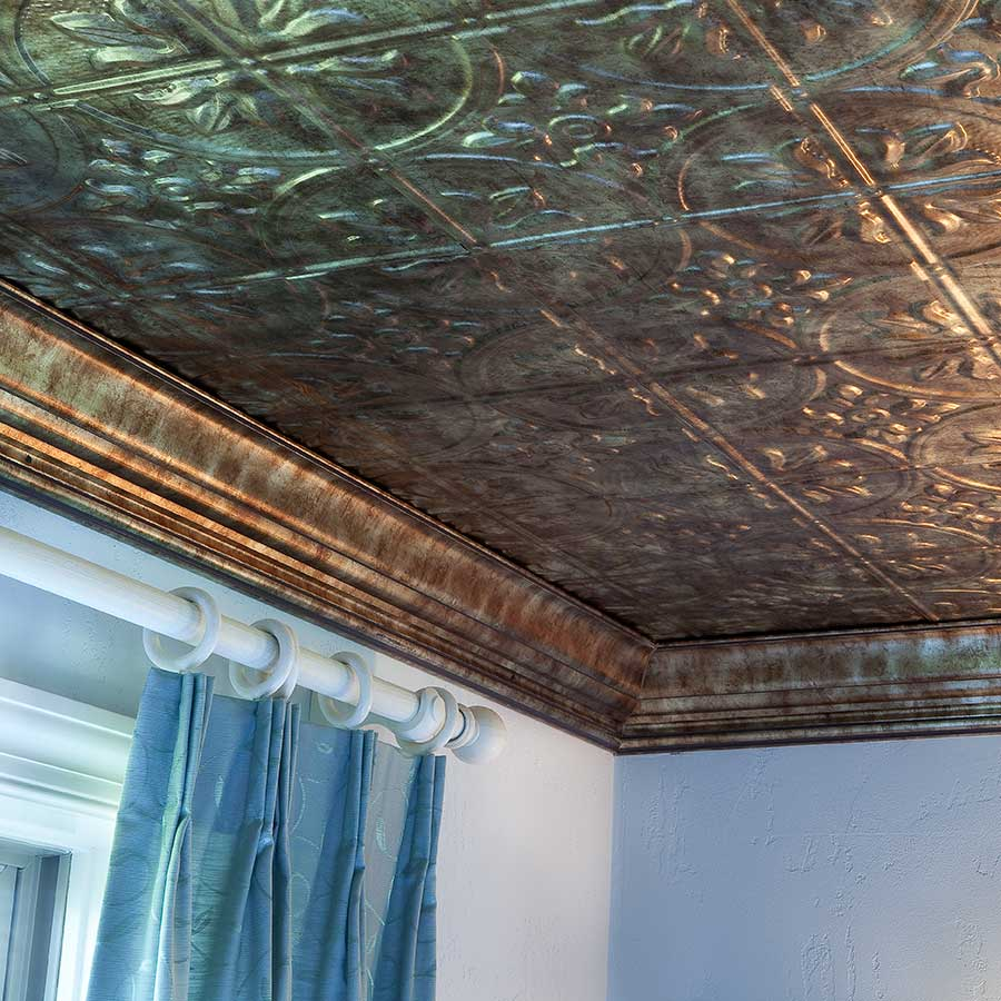 Fasade 2x4 Direct Apply Ceiling Tile - Traditional 2 in Bermuda Bronze