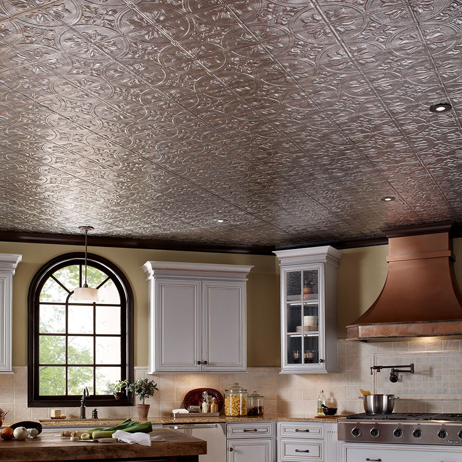 Fasade 2x4 Direct Apply Ceiling Tile - Traditional 2 in Crosshatch Silver