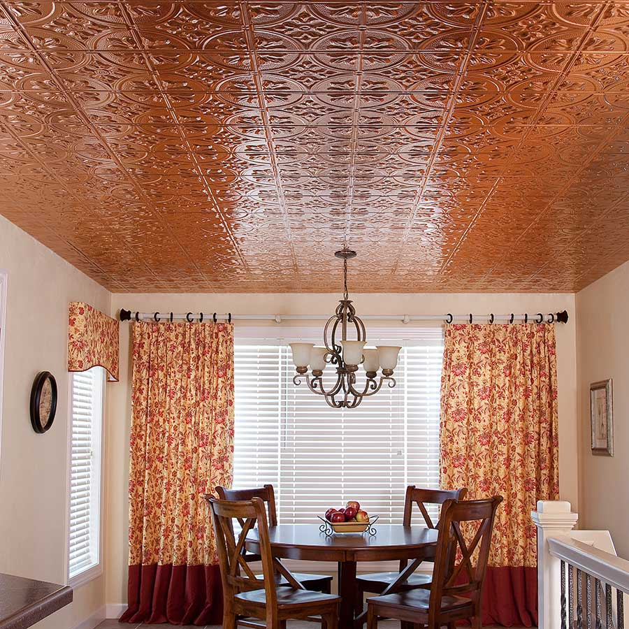 Fasade 2x4 Direct Apply Ceiling Tile - Traditional 2 in Polished Copper