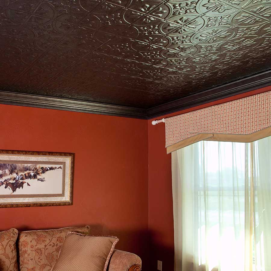 Fasade 2x4 Direct Apply Ceiling Tile - Traditional 2 in Smoked Pewter
