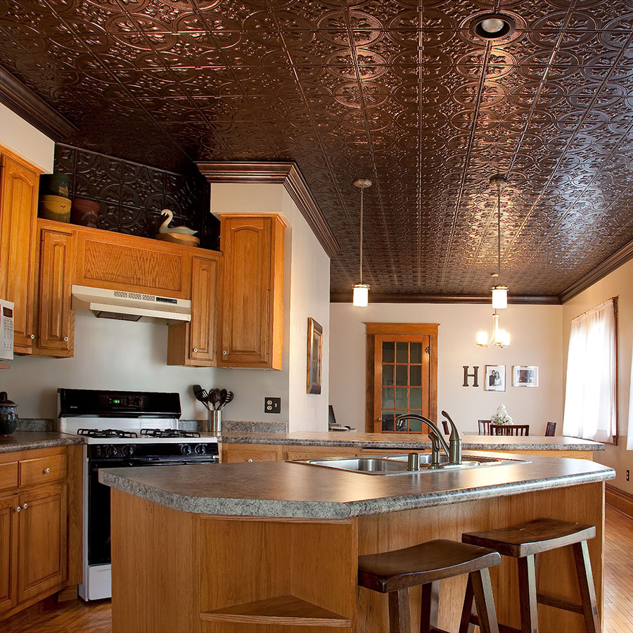 Fasade Direct Apply 2x4 Ceiling Tile - Traditional 2 in Smoked Pewter