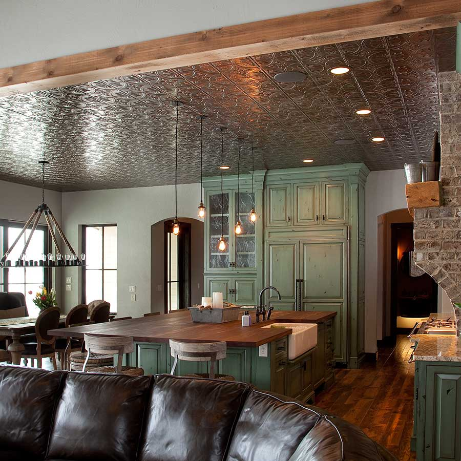 Fasade 2x4 Direct Apply Ceiling Tile - Traditional 2 in Brushed Nickel