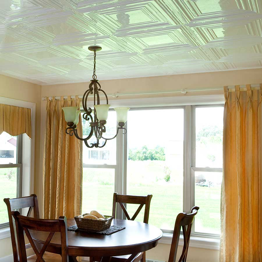 Fasade 2x4 Direct Apply Ceiling Tile - Traditional 3 in Gloss White