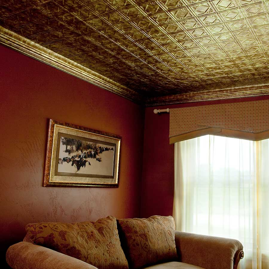 Fasade 2x4 Direct Apply Ceiling Tile - Traditional 4 in Bermuda Bronze