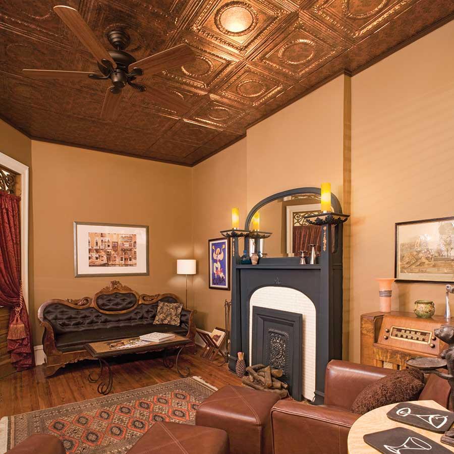 Fasade 2x4 Direct Apply Ceiling Tile - Rosette in Copper Fantasy