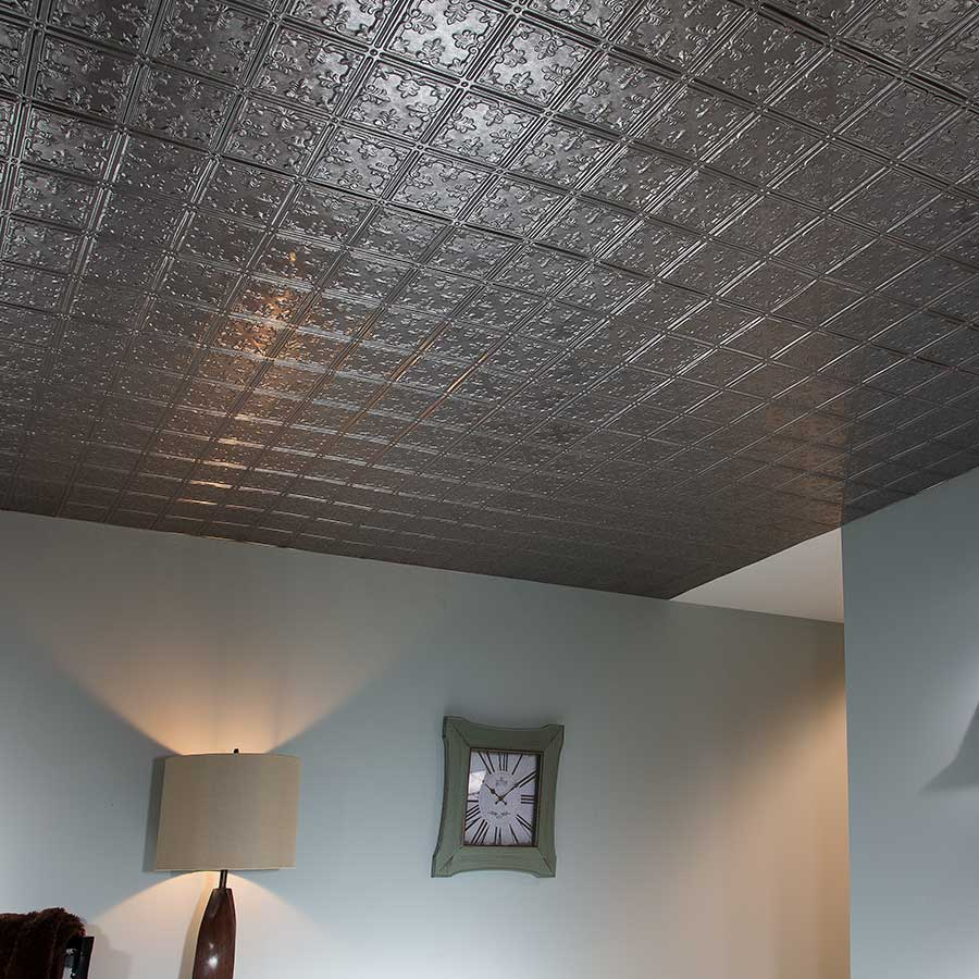 Fasade 2x4 Ceiling Tile - Traditional 10 in Galvanized Steel