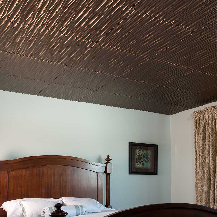 Fasade 2x2 Direct Apply Ceiling Tile - Dunes (Vertical) in Oil-Rubbed Bronze