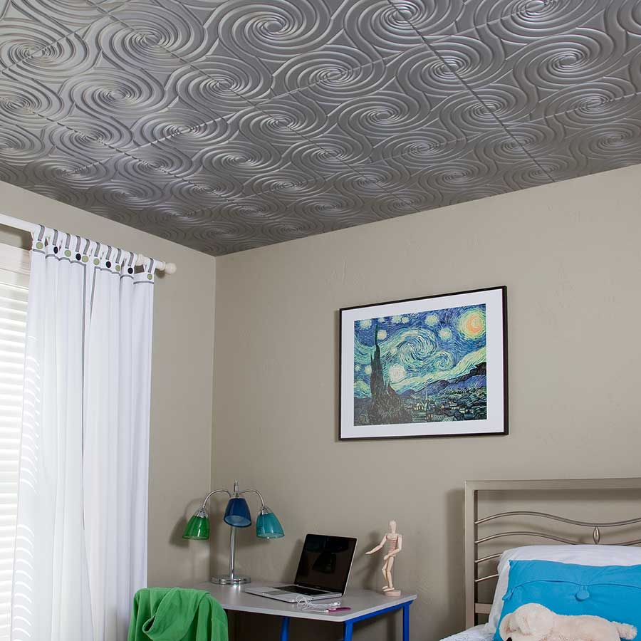 Fasade 2x2 Direct Apply Ceiling Tile - Typhoon in Argent Silver