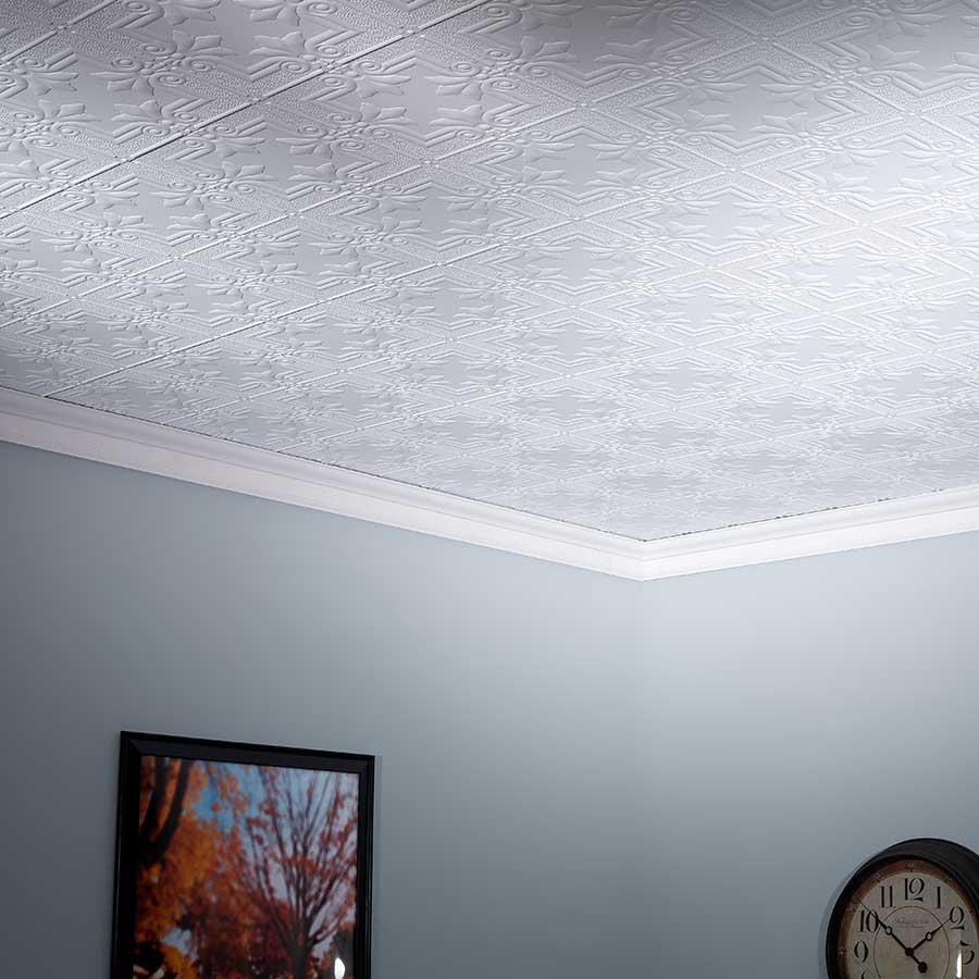 Fasade 2x4 Direct Apply Ceiling Tile - Regalia in Matte White