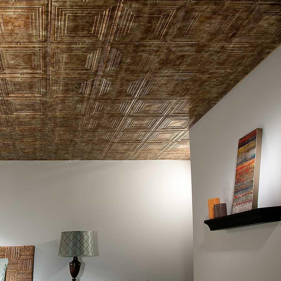 Fasade 2x4 Direct Apply Ceiling Tile - Regalia in Bermuda Bronze