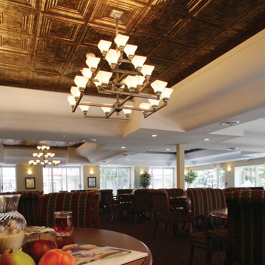 Fasade 2x2 Suspended Ceiling Tile - Traditional 3 in Bermuda Bronze