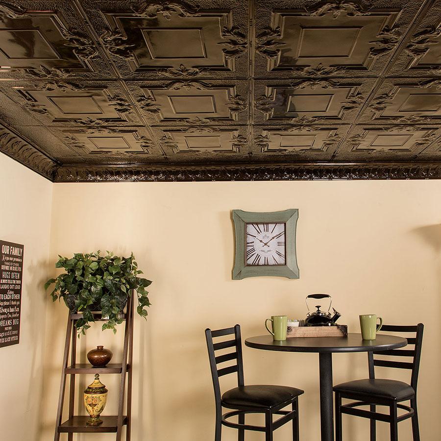 Great Lakes Tin 2x2 Nail Up Ceiling Tile - Niagara in Bronze Burst