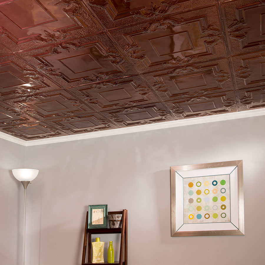 Great Lakes Tin 2x2 Nail Up Ceiling Tile - Niagara in Vintage Bronze