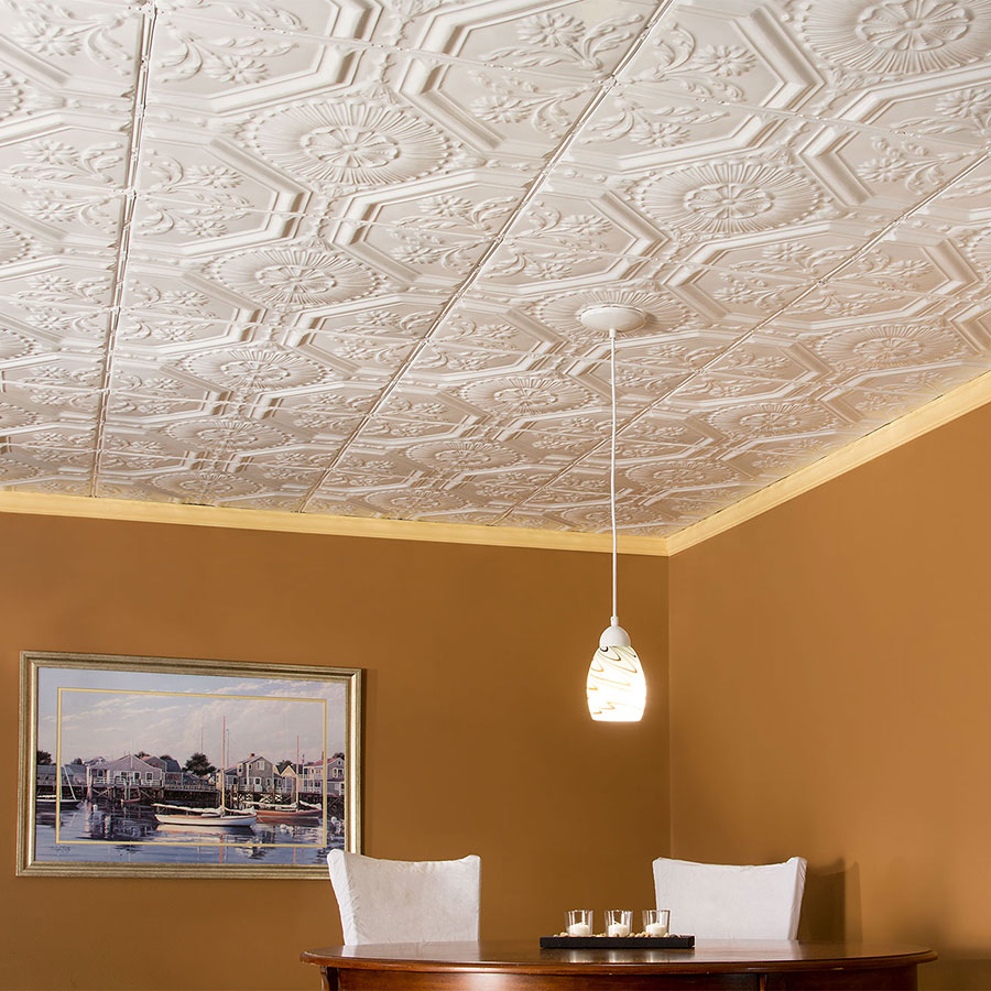 Great Lakes Tin 2x2 Nail Up Ceiling Tile - Rochester in Gloss White