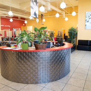 Academy of Hair Design - Fasade Rings Wall Panel in Brushed Aluminum